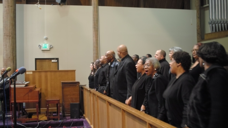 Choir Joins in Rendition of 'We Shall Overcome'/NCC