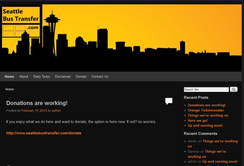 Seattle Bus Transfer Website/Sebastian Garrett-Singh Screenshot