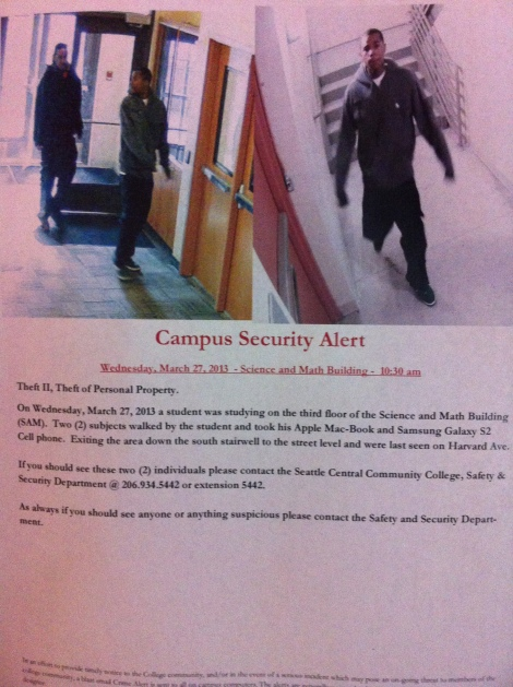 Poster regarding the Theft on Campus