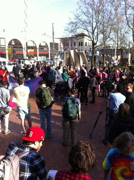 SCCC South Plaza, May Day Protesters gather. Photograph by Alexander M. Koch.
