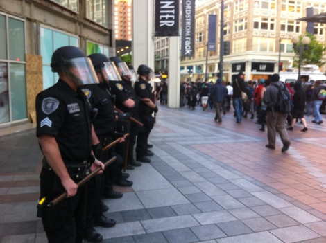 Swat Police in front of Westlake Mall during May Day protests. Photograph by Alexander M. Koch.