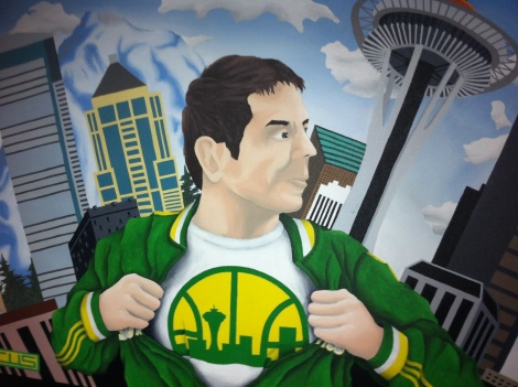 """Chris Hansen Is Superman by local Seattle artist Marcus """"Cus"""" Williams. Photograph by Grant Livingstone."""