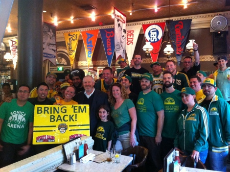 The Mayor With Sonics Fans. Photograph by Grant Livingstone.