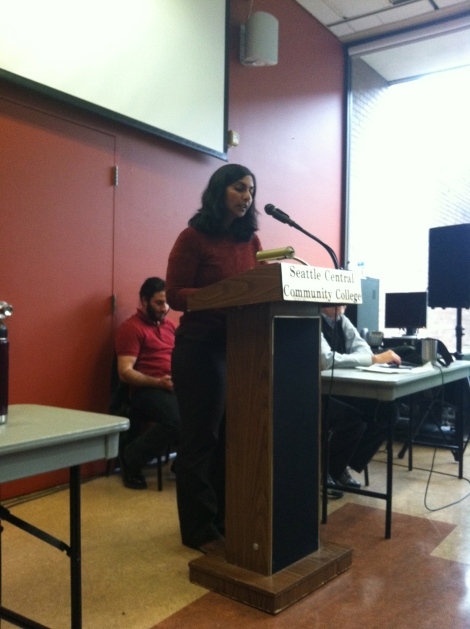 Sawant makes her case (Photo by Josh Kelety)