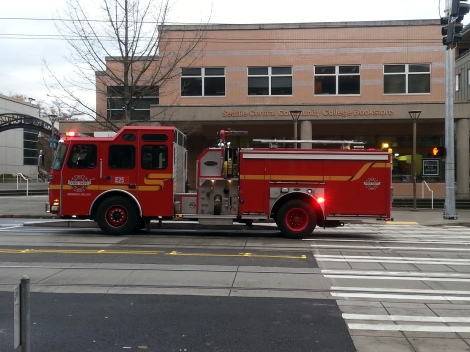 Emergency responders parked outside of Seattle Central Community College yesterday afternoon. Photo by: Joey Wieser